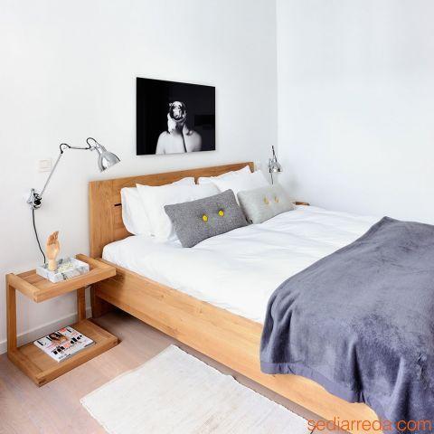 Azur - Cama matrimonial con estructura en madera de roble, disponible en distintas medidas