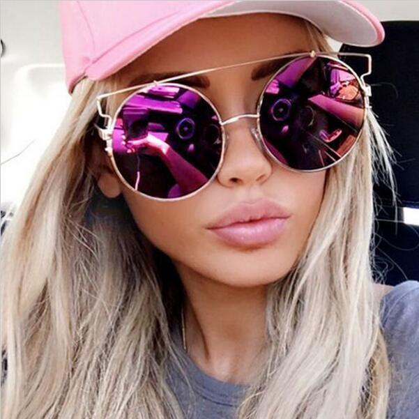093762ca7c7 Round Mirror Reflective Lenses Oversized Techno Women Metal Bar Huge  Sunglasses