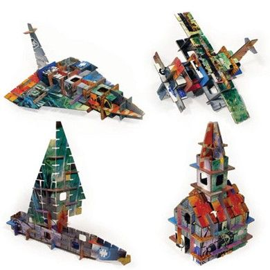 Totem City by Kidsonroof, modern pop-out 3D puzzle,built 4 different models