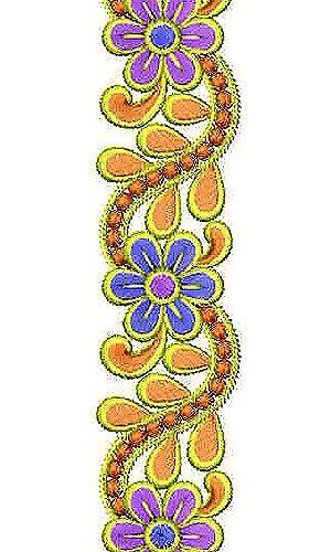 Flora Motif Small Border Brocade Lace Embroidery Design