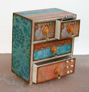 Moroccan Bazaar Wooden Jewelry Box-jewelry box, jewellery box, jewelery box, storage box, meomory box, decorated box, decoupaged box, 4 drawer chest, dresser box