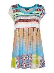 Bohéme tunika bluse i flot indianer print med korte ærmer