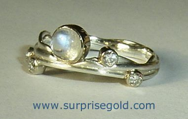 moonstone and gold ring