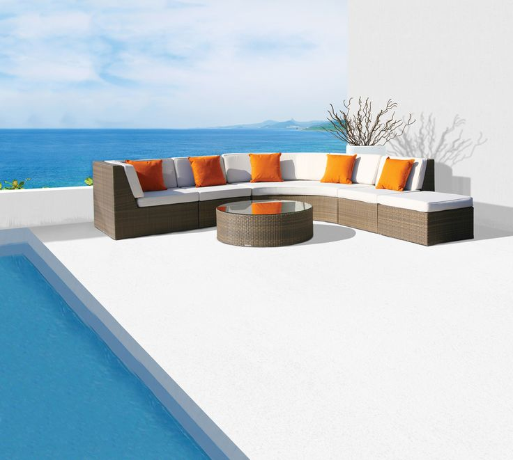 Valencia modular lounge furniture with Sunbrella cushions #ResinWeave #OutdoorFurniture  https://westminsteroutdoorliving.com/index.php/catalogsearch/result/?q=valencia