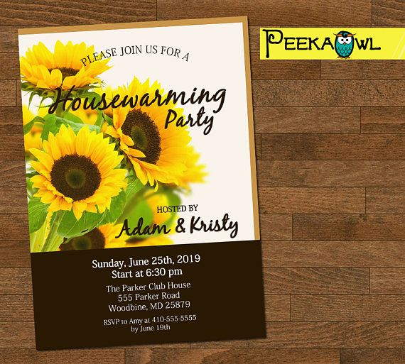 Personalized Housewarming Invitation Card  Spring