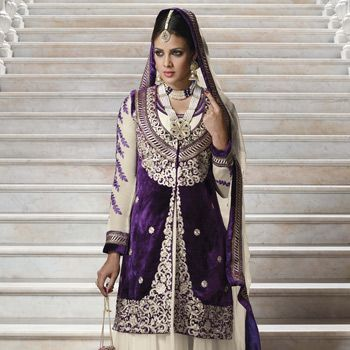 Purple and Light Cream Velvet and Faux Georgette Churidar Kameez Online Shopping: KWY562A    Love this one!!