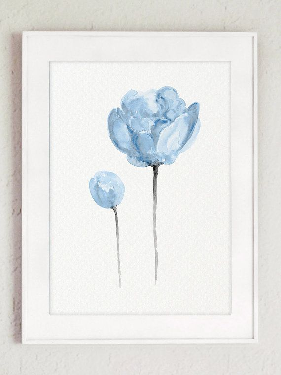Peony Art Print Modern Flowers Minimalist Art Print set of 3. Baby Blue Boys Nursery Room Decor. Three Flowers set Abstract Illustration. Peonies Wall Art. A price is for the set of three Blue Peony Art Prints as in the pictures.  Type of paper: Prints up to (42x29,7cm) 11x16 inch size are printed on Archival Acid Free 270g/m2 White Watercolor Fine Art Paper and retains the look of original painting. Larger prints are printed on 200g/m2 White Semi-Glossy Poster Paper.  Colors: Archival…
