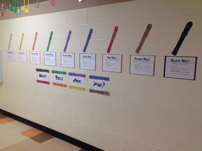 What Belt Are You? Shows kids what they need to do to earn each belt. Easy to make! Recorder Karate Hallway Display - Make Moments Matter