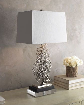 """From the John-Richard Collection, a lighting accent featuring a silver-plated coral shape that is handcrafted of aluminum. White linen shade adds a modern touch. 15""""W x 10""""D x 30.5""""T. Three-way switch; uses one 150-watt bulb. Imported."""