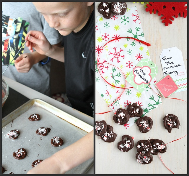 Chocolate Covered Pretzels Recipe with Crushed Candy canes..... like ...