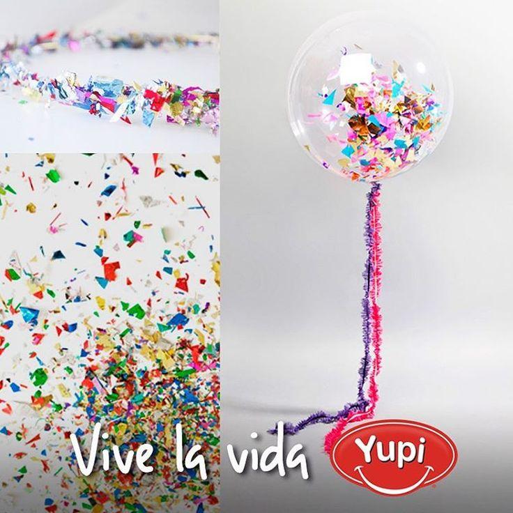 Con los paqueticos de tus #Yupi puedes crear nuevas ideas, como ¡decorar una fiesta de cumpleaños! Puedes hacer coronas con papelitos y alambre, llenar globos con confeti, guirnaldas con tiritas metalizadas o meter papelitos en botellas de vidrio. ¿A ti qué idea se te ocurre?