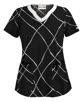UA Pearls of Wisdom Black Scrub Top Style # UA965PWB  #uniformadvantage #uascrubs #adayinscrubs #black #white #blackandwhite #scrubs #printscrubs
