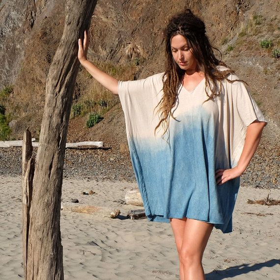 Description: I love this piece. It is so simple but is absolutely perfect for laid back elegance. A wonderful cover up at the beach, easy to dress up, and great for lounging around. Each piece honors the ancient natural dye techniques through the simple art of Dip Dye in our 8 year old Indigo vat. Each garment will be a one of a kind and no 2 will be the same. A very special piece that brings us great joy in the studio to create. COLOR : shown here - Indigo Dip Dye Each dip will be unique…