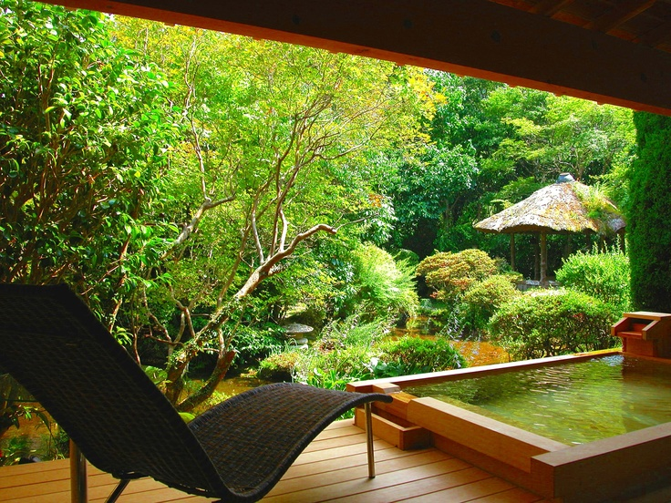 Habit: Taking bath every day before going to bed to clean and let go of the day. (This pic is bollowed from an open-air bath onyado-sakaya Japan shizuoka izu yoshina-onsen)