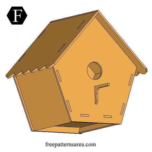 Free digital cutting plan to build a bird house in your garden. This design is drawn in CAD programs. It is suitable for cutting on CNC system laser machines.This design is also a aeasy DIY wood craft project. Using this diy idea you can build a homemade bird house with tools like scroll saw, dremel,