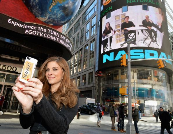 NY selfie | Maria Menounos captures a glam moment in Times Square while announcing her partnership with Suave Professionals and GLAM4GOOD