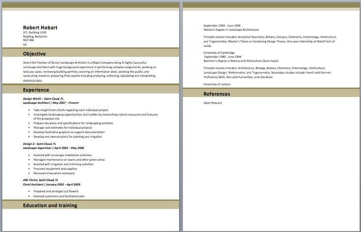 Landscape Architect Resume Architect Resume Samples Pinterest - obiee architect sample resume