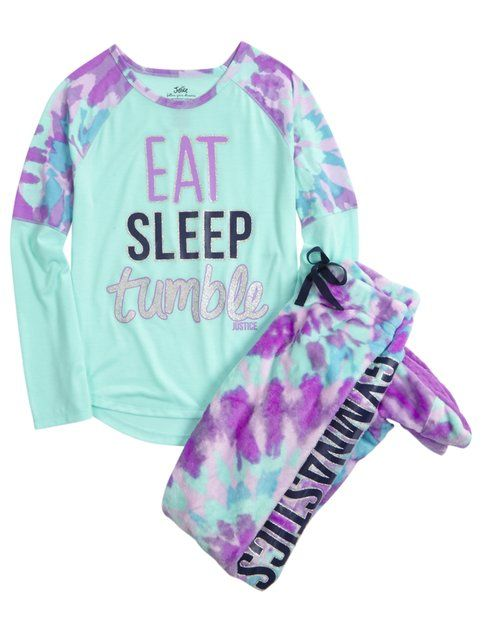 Gymnast Fleece Footed Pajama Set | Girls Pajamas Sleepwear | Shop Justice