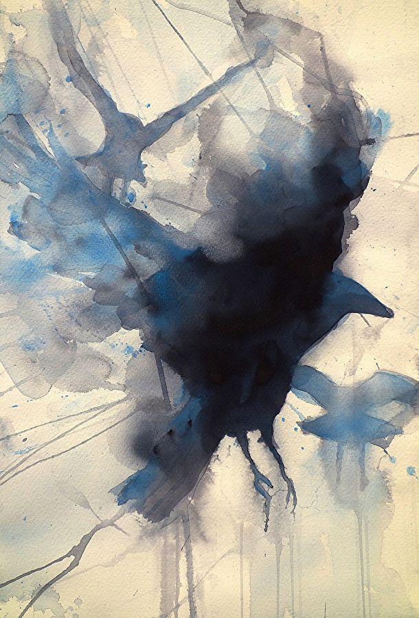 Crow Study II by Sarah Yeoman Watercolor ~ 21 x 14