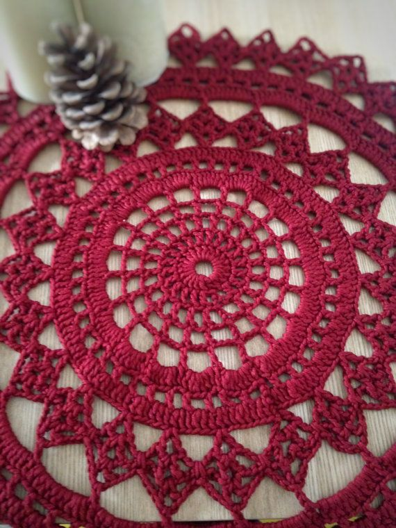 Red Christmas table decoration - Christmas centrepiece - Christmas Gift - Red crochet doily - Christmas doily - Red Christmas Table decor
