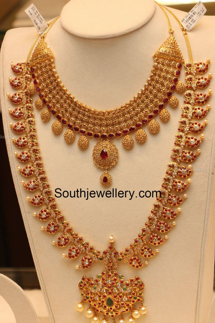 Beautiful 22 carat gold chains with matching pendant designs latest - Unique Exclusive Uncut Diamond Necklace Ruby And Diamond Peacock Design Long Mango Haram Or Mango Mala Manepally Jewellers