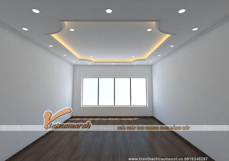 Bản thiết kế 3D cho trần thạch cao phòng ngủ nhà chú Nhận