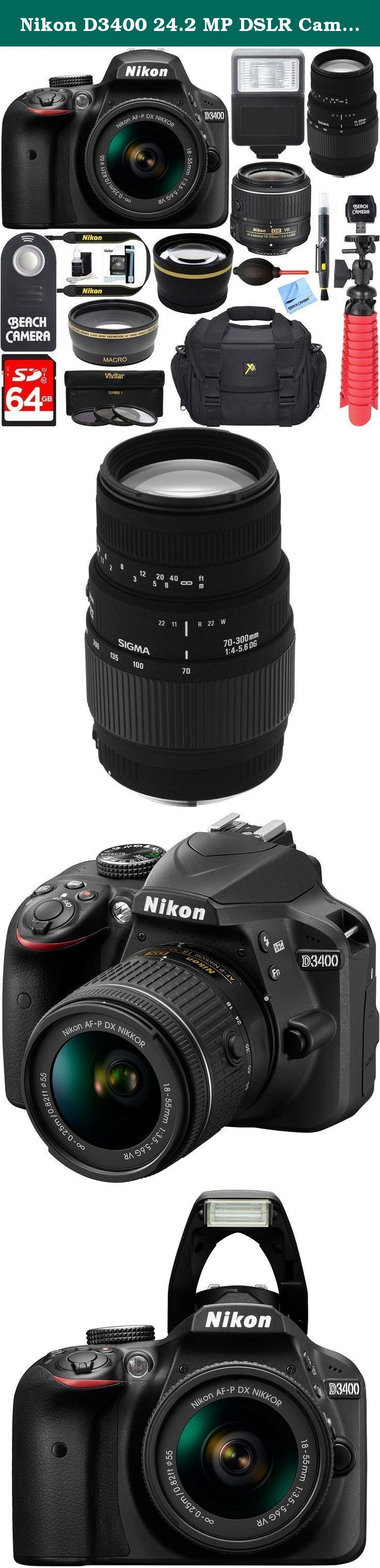 Nikon D3400 24.2 MP DSLR Camera + (18-55mm VR Nikon & 70-300mm SLD DG Sigma Lens Package, Black) + Bundle 64GB SDXC Memory + Photo Bag+Wide Angle Lens + 2x Telephoto+Flash + Remote + Tripod + Filters. 24.2 Megapixel CMOS Sensor Full HD Movie Bluetooth Built-in Authorized Nikon Dealer USA Warranty Welcome to photography.Before the D3400, you chose your smartphone camera for convenience. Zooming was clumsy. Shooting in low light was nearly impossible. Capturing fast action was a game of…