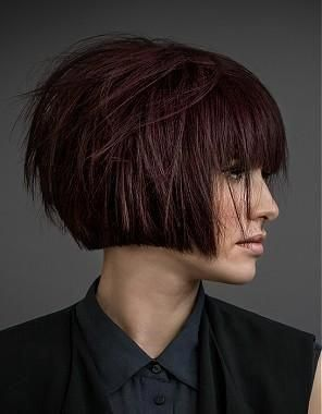 A Short Brown straight bob choppy defined-fringe volume womens haircut hairstyle by Mob Salons #choppybobhairstyles