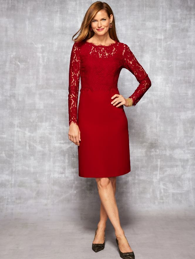 9d081d4734d The lace and crepe dress we love is all-new in classic red - perfect for  festive gatherings!