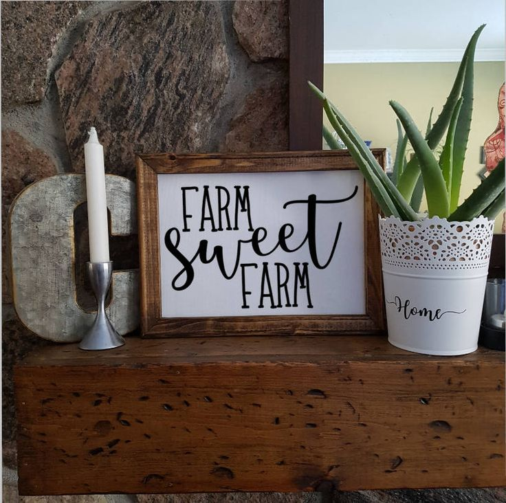 Excited to share the latest addition to my #etsy shop: Reverse Canvas Sign - Landscape Style - 9x12 - 11x14 - Stained Frame - Farm Sweet Farm - Rustic - Farm House Style - Home Sweet Home - Keys http://etsy.me/2Ej7xqV #art #mixedmedia #white #black #rectangle #reversec