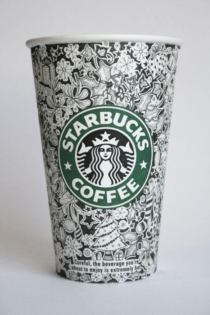Starbucks Cups by Johanna Basford, via Behance