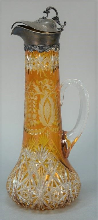Dark amber cut to clear carafe mounted with Gorham sterling silver top and clear handle, marked D 759 S  ~ Realized Price $18,000.00 #nadeausauction