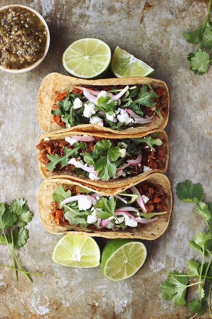 sprouted lentil tacos with arugula and feta, (gluten-free).