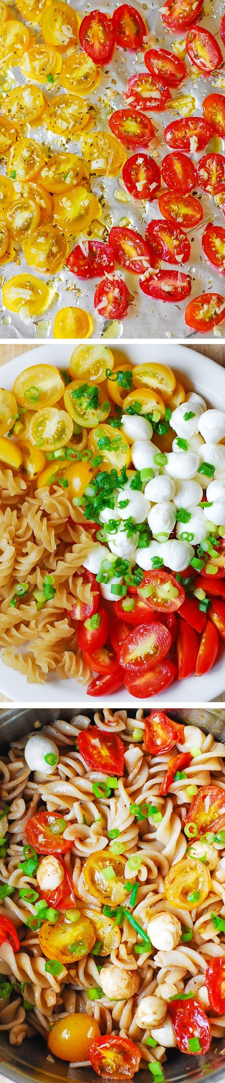 Pasta Salad with Roasted Tomatoes and Mozzarella - healthy, light, vegetarian side dish! For gluten free, use gf pasta.  Perfect for Summer cookouts, picnics! #BHG #sponsored