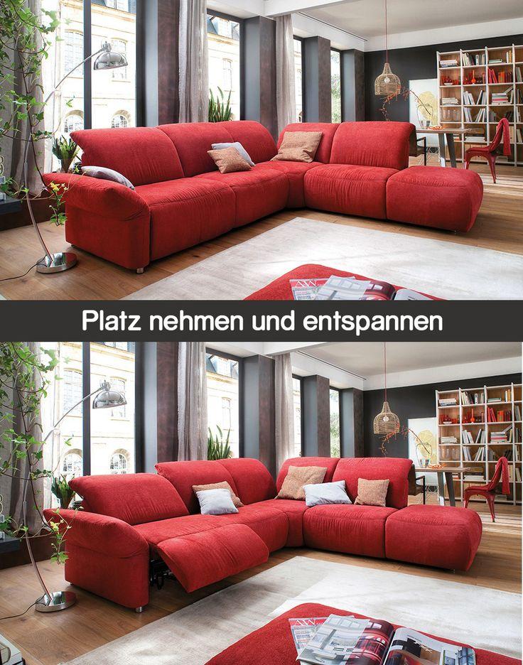 Rote Eckcouch Primera | Besten Sitzkomfort Verbunden Mit Extravaganten  Funktionen Bietet Dir Das Stylische Ecksofa In