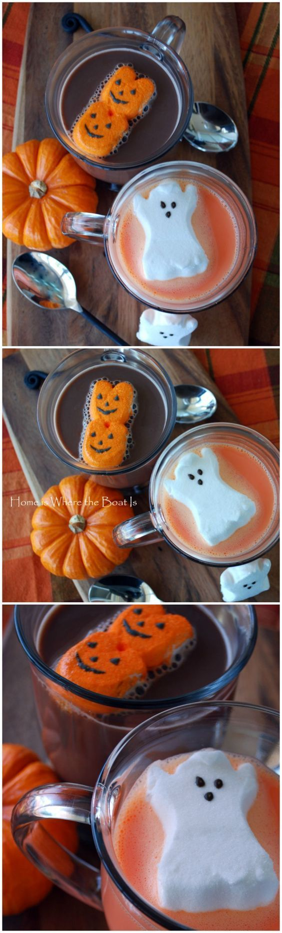 Halloween PEEPS Hot Chocolate and Orange Hot Chocolate Recipe! Fun idea for a Halloween party or family night.