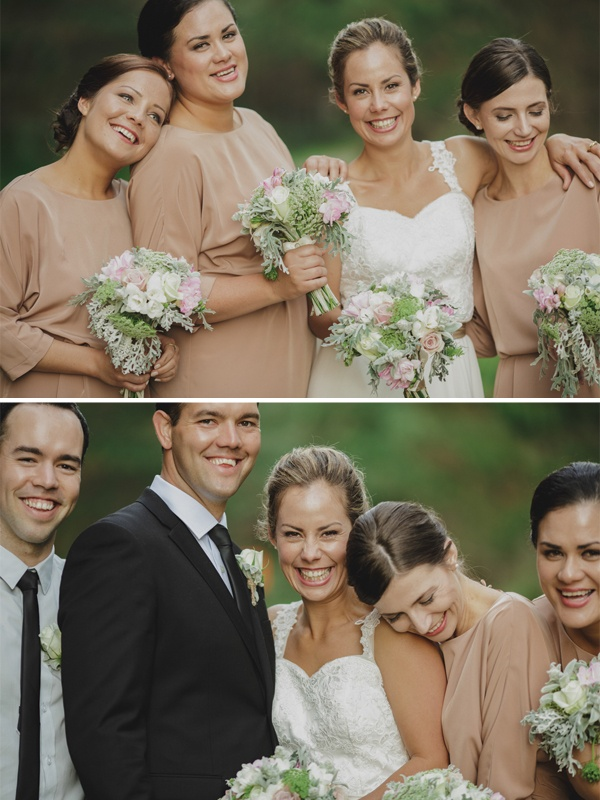 Hawkes Bay wedding by Jess Sim - via Magnolia Rouge (Nude bridesmaids dresses via TopShop)