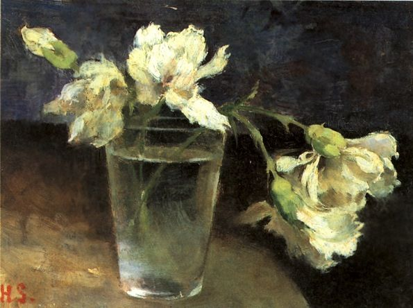 Helene Schjerfbeck, Carnations in a Glass of Water 1888