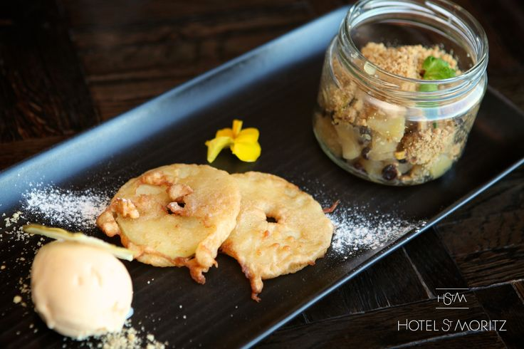 Apple & Currant Crumble with spiced apple fritter & calvados ice cream | Hotel St Moritz Queenstown |