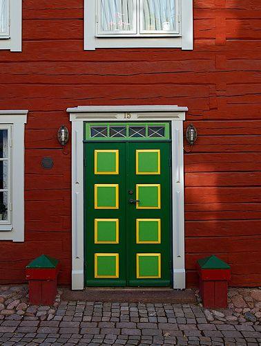 Colorful door at Nygatan 15, Eksjö, Småland, Sweden