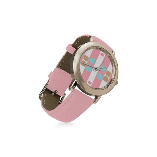 Leather watch -pastel stripes with dots Round Rose Gold Lady's Leather Watch
