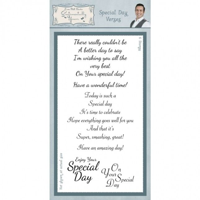 Phill Martin Sentimentaly Yours Special Day Verses Clear Stamp