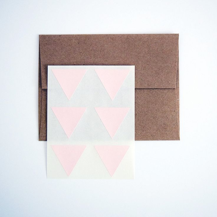 Blush Pink Triangle Stickers. Triangle Labels. Package Seals. Gift Labels.