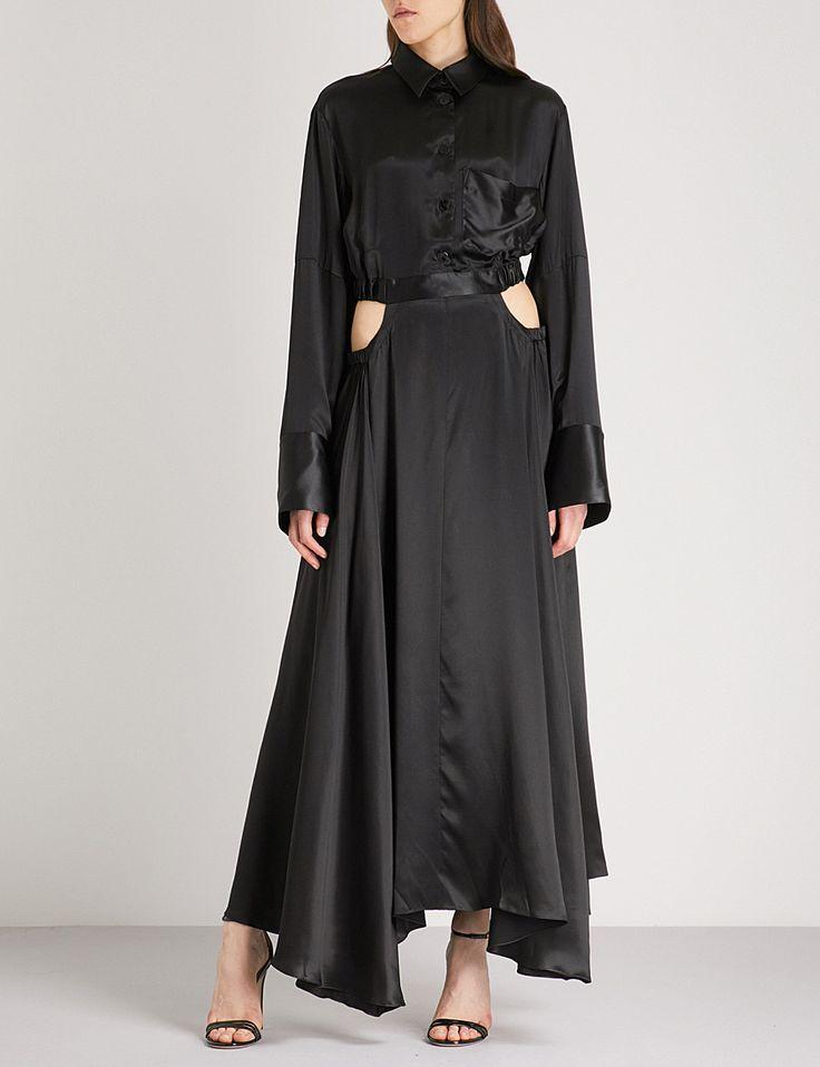 MICHAEL LO SORDO Cocoon-sleeve silk maxi dress
