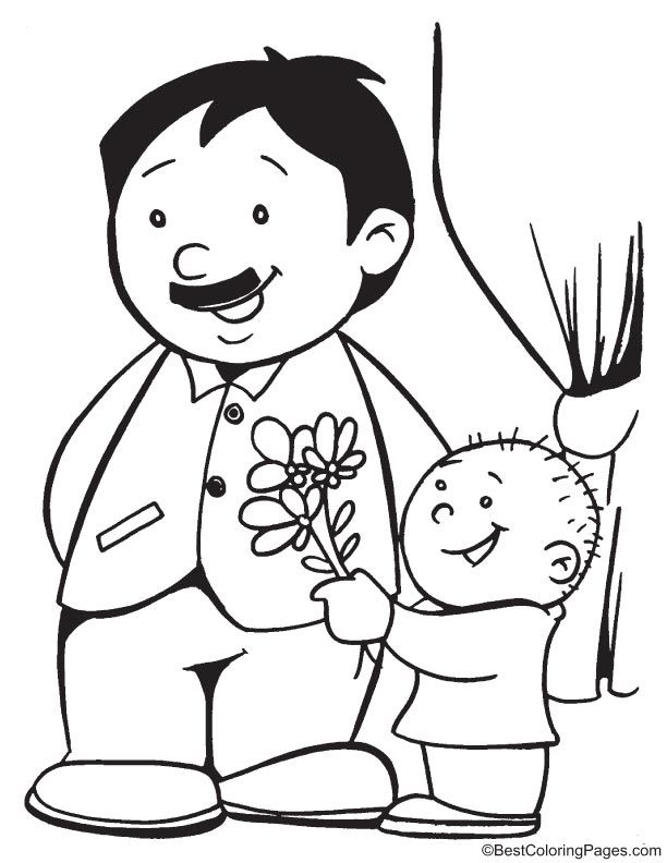 I love you dad coloring page Fathers day coloring page