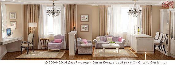 Розовые подушки на лиловом диване в гостиной  http://www.ok-interiordesign.ru/ph_dizain-interyera-gostinoy.php