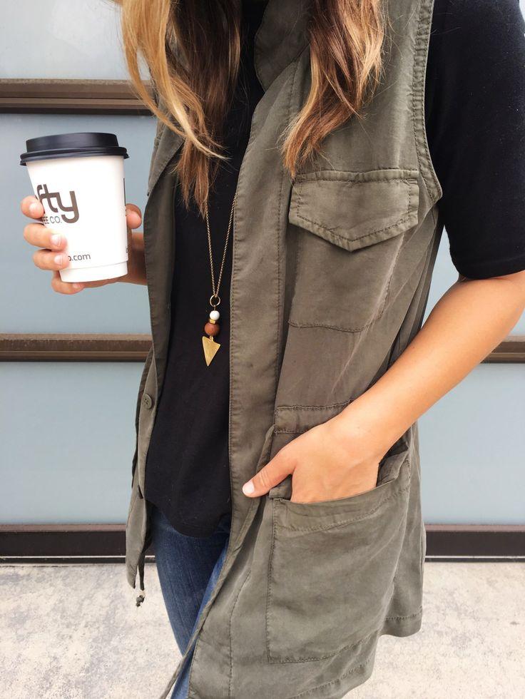 Natalie Borton necklace / cargo vest / Lofty coffee