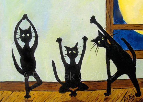 Yoga Cats 2 - Cats doing yoga -  5x7 Art Print of original painting on Etsy, $9.00