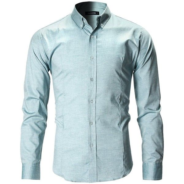 FLATSEVEN Men's Slim Fit Casual Oxford Button Down Shirt ($33) ❤ liked on Polyvore featuring men's fashion, men's clothing, men's shirts, men's casual shirts, mens slim fit shirts, mens slim fit button up shirts, men's oxford button down shirts and mens slim fit oxford shirt