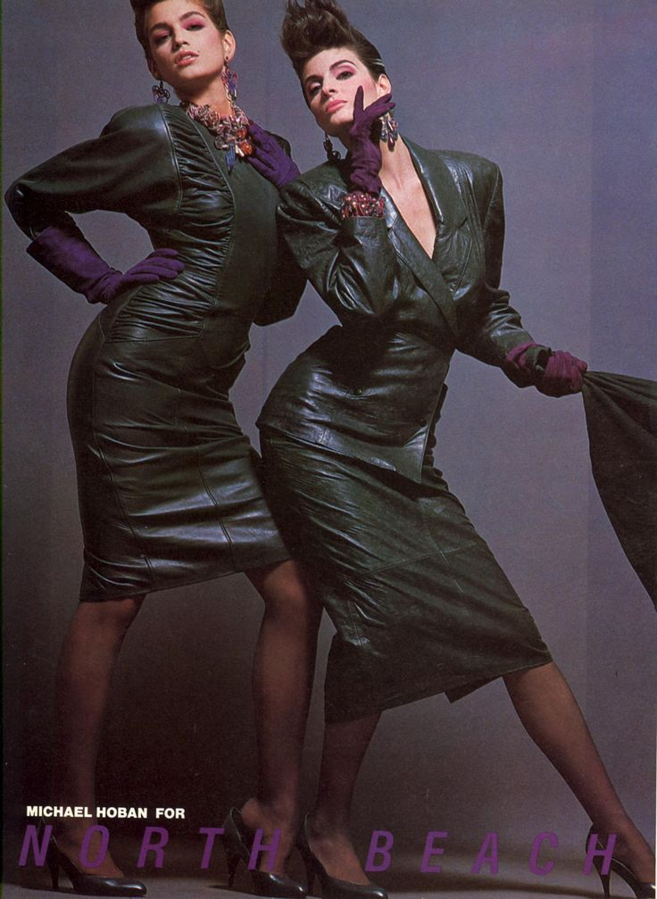 North Beach Leather 1985 Photo Victor Skrebneski  Models Cindy Crawford, Joan Severance & Paulina Porizkova